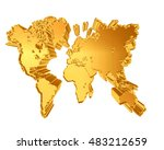 3d illustration. golden world... | Shutterstock . vector #483212659