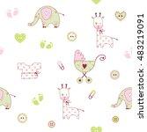 cute baby shower pattern | Shutterstock . vector #483219091