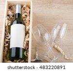 Bottle Of White Wine In Wooden...