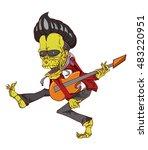 zombie guitar palyer vector.... | Shutterstock .eps vector #483220951