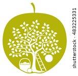 vector apple tree with one big...   Shutterstock .eps vector #483225331