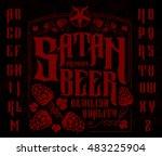 satan beer label set. retro... | Shutterstock .eps vector #483225904