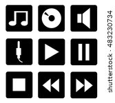 audio icons flat style set | Shutterstock . vector #483230734