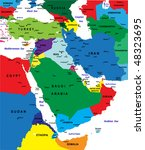 middle east political map vector | Shutterstock .eps vector #48323695