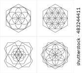 geometrical line ornaments. set ... | Shutterstock .eps vector #483244411