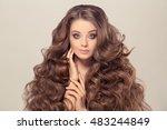 beauty woman portrait. healthy... | Shutterstock . vector #483244849