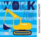 excavator truck cartoon vector...   Shutterstock .eps vector #483254689