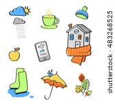 autumn in the city. vector... | Shutterstock .eps vector #483268525