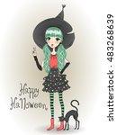 little cute halloween witch...   Shutterstock .eps vector #483268639