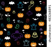 seamless halloween ghost  bats  ... | Shutterstock .eps vector #483268891