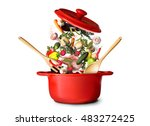 big red pot for soup with... | Shutterstock . vector #483272425