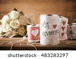 tin cans for a wedding car with ... | Shutterstock . vector #483283297