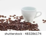white cup with coffee beans.... | Shutterstock . vector #483286174