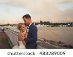 a young married  couple out for ... | Shutterstock . vector #483289009