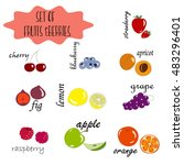 set of fruits and berries.... | Shutterstock .eps vector #483296401