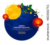 background for asian harvest... | Shutterstock .eps vector #483306751