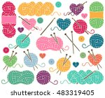cute vector collection of balls ... | Shutterstock .eps vector #483319405