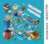 delivery process concept... | Shutterstock .eps vector #483327709