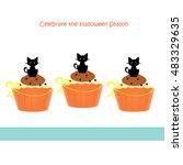 halloween cupcakes   cats | Shutterstock . vector #483329635