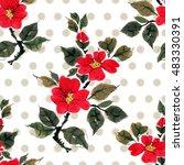 seamless floral pattern... | Shutterstock . vector #483330391