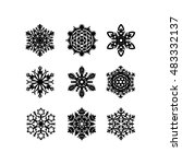 set of snowflakes. vector... | Shutterstock .eps vector #483332137