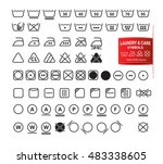 icon set of laundry symbols in... | Shutterstock .eps vector #483338605