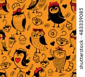 seamless pattern with cute owls....   Shutterstock .eps vector #483339085