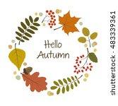 vector autumn wreath. greeting... | Shutterstock .eps vector #483339361