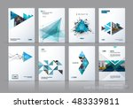 Brochure template layout, cover design annual report, magazine, flyer in A4 with green polygonal triangles, 3d mesh polygons, rounds, lines, explosion for business and sale shopping. Vector set. | Shutterstock vector #483339811