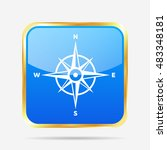 blue and gold compass button  ... | Shutterstock .eps vector #483348181
