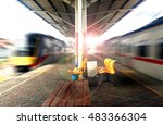 empty train station with fast... | Shutterstock . vector #483366304