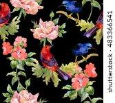 watercolor hand drawn seamless... | Shutterstock . vector #483366541