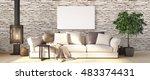 modern bright interior . 3d... | Shutterstock . vector #483374431