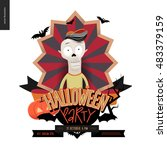 halloween party composed sign... | Shutterstock .eps vector #483379159