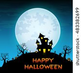 halloween night background with ... | Shutterstock . vector #483382699