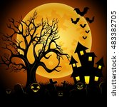 halloween night background with ... | Shutterstock .eps vector #483382705