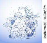 graphic aquarium fish with... | Shutterstock .eps vector #483384691