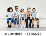 sitting kids playing looking... | Shutterstock . vector #483400099