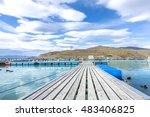 salmon fish farm floating on... | Shutterstock . vector #483406825