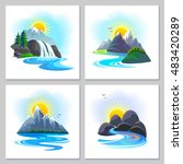 amazing portraits of mountains... | Shutterstock .eps vector #483420289