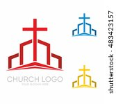 church logo. christian symbols. ... | Shutterstock .eps vector #483423157
