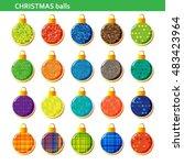 colorful christmas balls set... | Shutterstock .eps vector #483423964