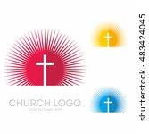church logo. christian symbols. ... | Shutterstock .eps vector #483424045