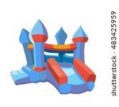 illustration of bouncy castle... | Shutterstock . vector #483425959