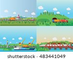 transportation and delivery... | Shutterstock .eps vector #483441049