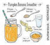 veggie smoothie recipe. pumpkin ... | Shutterstock .eps vector #483446185