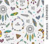 boho style seamless vector...   Shutterstock .eps vector #483448081