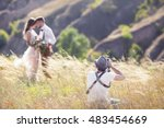 a wedding photographer takes... | Shutterstock . vector #483454669