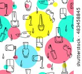 hand drawn nail polish doodles... | Shutterstock .eps vector #483458845