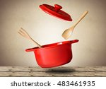 big red pot for soup with spoon ... | Shutterstock . vector #483461935